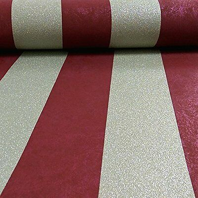 Carat Red and Gold Glitter Stripe Wallpaper Paste the Wall Vinyl 13346-80