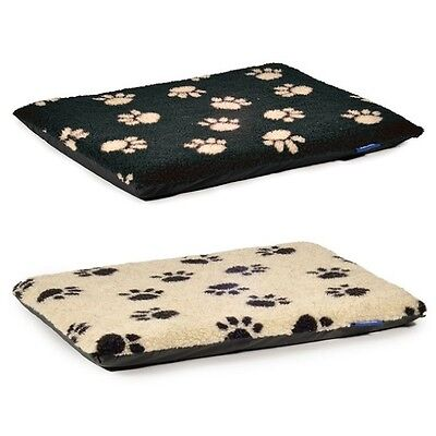Ancol Black Paw On Cream & Cream Paw On Black Pads Dog Flat Pad Puppy Crate Bed