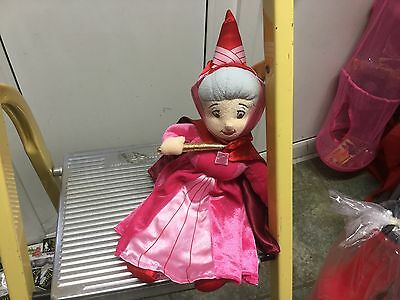 """Official Disney Sleeping Beauty Fairy Godmother Flora Red Soft Toy Doll 14"""""""