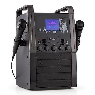 Auna Karaoke Machine  System Cd Aux 2 X Microphone Singing Speaker Black Party