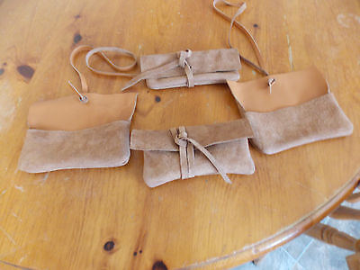 Medieval TOBACCO POUCH/BAG Reenactment Tan Leather DRAWSTRING MONEY
