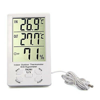 Clock Lcd Digital Hygrometer Humidity Thermometer Temperature Meter In/Outdoor