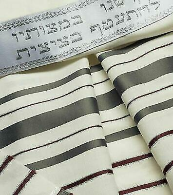 "100% Wool Tallit Prayer Shawl in Maroon gray Stripes Size 18"" L X 72"" W"