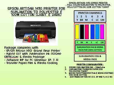Sublimation On 100% Cotton Tshirt With Hybrid Epson 1430 Printer Package W/rip.