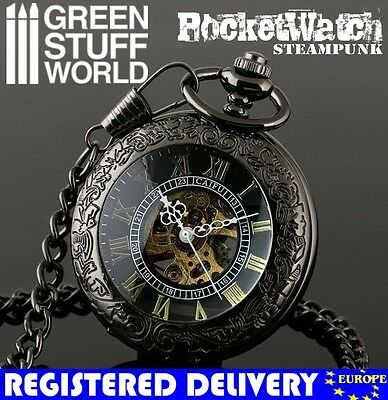 Retro SteamPunk BLACK Pocketwatch - Skeleton Mechanical - Antique Vintage watch