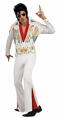 Halloween LifeSize ELVIS PRESLEY DELUXE WHITE JUMPSUIT MEN ADULT COSTUME LARGE
