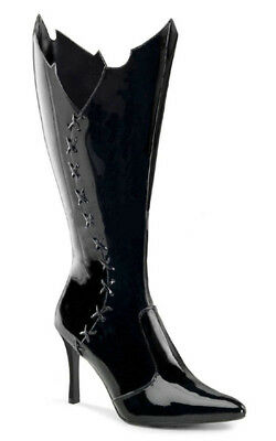Adult Womens Vampiress Catwoman Batgirl Black Boots Fancy Dress Costume