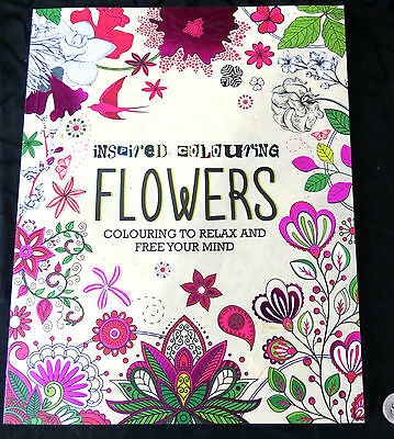 Inspired Colouring: Flowers by Parragon Adult Colouring Book 128 gorgeous Pages
