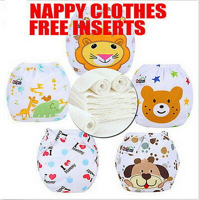 14Covers 3/5/10pcs Adjustable Reusable Lot Baby Washable Cloth Diaper Nappies W^