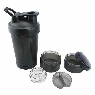 Protein Shaker Bottle Cup Three layers of Blender Mixer Black Bottle 17oz