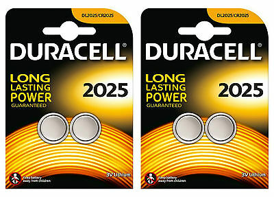 4 X Duracell CR2025 2025 3V Lithium Coin Cell Batteries DL2025  FOUR PACK