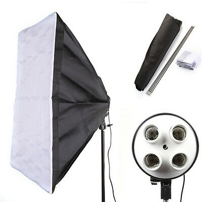 "PRO E27 4 Socket Light Lamp Bulb Head + 50x70cm/20x28"" Studio Photo Softbox Kit"