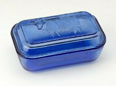 Blue Glass Butter Dish Cow Country Cobalt  Blue Depression Style