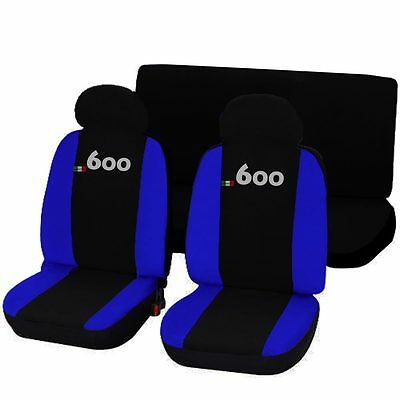 Coprisedili Auto Fiat 600 Bicolore Nero - Blu Royal Fodere Specifiche