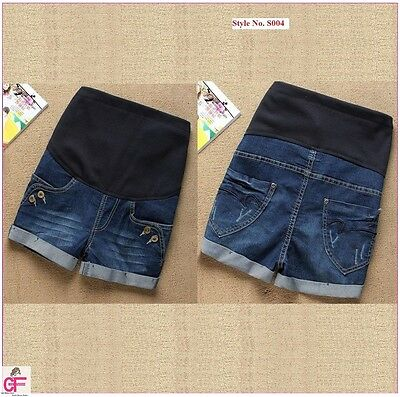 Blue New Maternity Shorts Next Summer Pregnancy Over Under Bump Look Jeans -S004