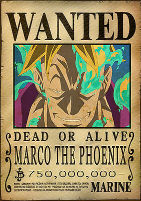Sticker Autocollant Poster A4 Manga One Piece. Affiche Wanted Marco The Phoenix.