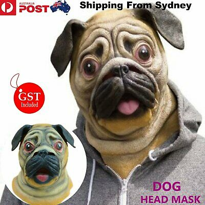 Dog Head Mask Creepy Animal Halloween Costume Theater Prop Latex Novelty Party