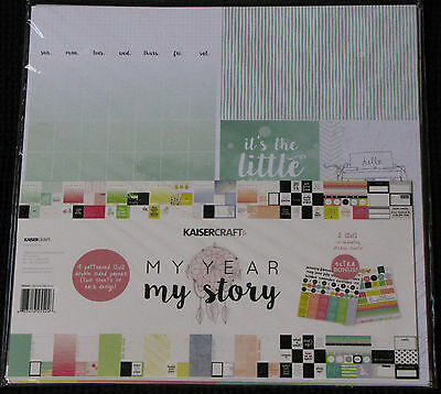 "Kaisercraft 'My YEAR, MY STORY' 12x12"" Paper Pk +Stickers KAISER *Deleted 2 Left"