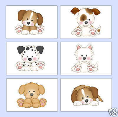 Puppy Dog Wall Art Prints Baby Girl Boy Nursery Kids Room Childrens Bedroom