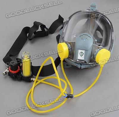 Complete Set of Circulating Air Supply w/Silicone Gas Mask Full Face Respirator