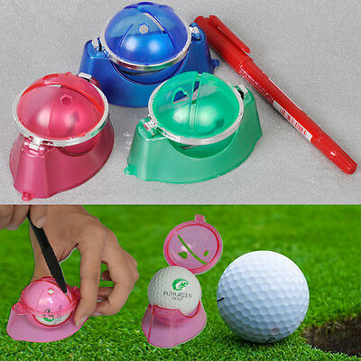 New Golf Ball Linear Line Marker Template Drawing Putting Alignment Tool w/Pen