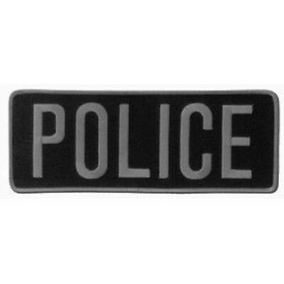 POLICE Officer Large Uniform BACK PATCH Badge Emblem Insignia 11x4 GRAY BLACK