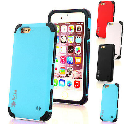 Hybrid Shockproof Hard Luxury Case Cover for Apple iPhone 6 + Screen Protector