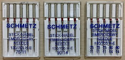Schmetz Domestic Machine Needles (Embroidery) - 130/705HE (5 pack - pick a size)