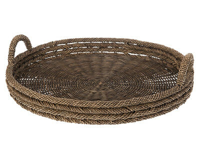Round Serving Tray in Lampakanay Grass & Wicker, Dia 24.5 x 3.25 inch, Brown