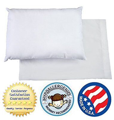 Toddler Pillow WITH PILLOWCASE by Dreamtown Kids. CHIROPRACTOR RECOMMENDED for