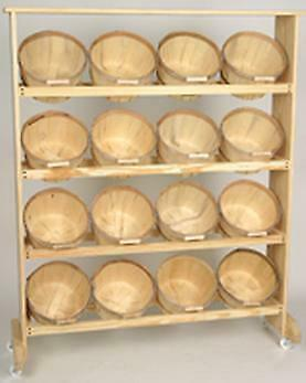 Wood Display with 16 One Peck Baskets Natural Wood