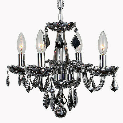 "USA BRAND SALE Clarion 4 Light CHROME Crystal Small Mini Chandelier D16"" x H12"""
