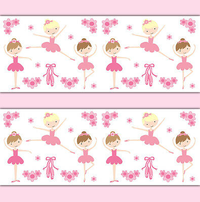Ballerina Wallpaper Border Wall Art Decal Baby Girl Ballet Dance Nursery Sticker