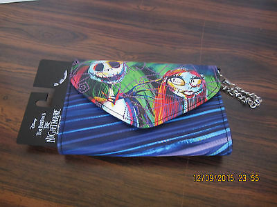 Nightmare Before Christmas Jack and Salley  Leather Wallet Snap Closeure Chain