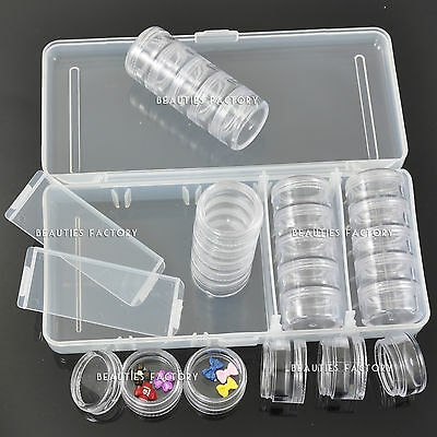 Empty 25 Round Cases Space Nail Art Storage Container Case Clear Box 363K