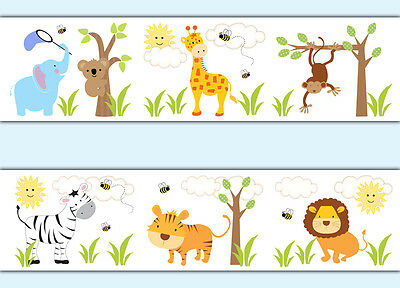 Safari Jungle Animals Wallpaper Border Wall Art Decals Baby Boy Nursery Stickers