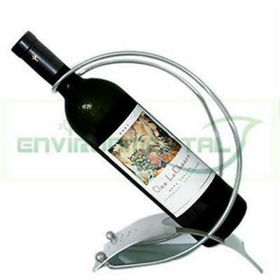 Modern Silver Stainless Steel Metal Bottle Wine Rack Holder Table Decor Support