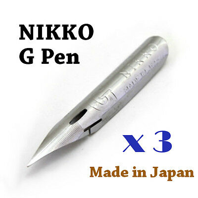 3 x Nikko G pen nib for Copperplate, Spencerian writing & Manga, Comic drawing