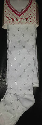 Baby Girl Silky Tights White, With Spots Christening/Wedding/Special Occasion