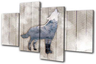 Wolf Mountain Grunge Abstract Animals MULTI CANVAS WALL ART Picture Print