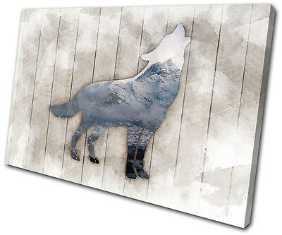 Wolf Mountain Grunge Abstract Animals SINGLE CANVAS WALL ART Picture Print