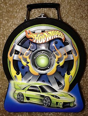 2003 Hot Wheels Flaming Tire Candy Storage Tin w/ Latch & Handle