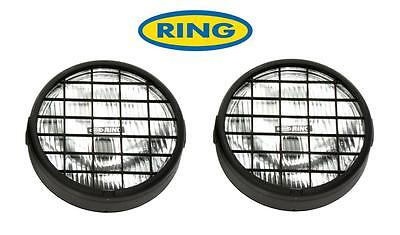 """6"""" Round Driving Spot Lamps Lights Pair With Stoneguards Rally 4x4 Offroad"""