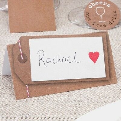 50 TABLE PLACE CARDS Wedding JUST MY TYPE Vintage Name Brown Red Heart