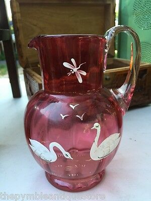 Antique Ribbed Ruby Glass Jug with Hand-painted Swans, Gulls Dragonfly