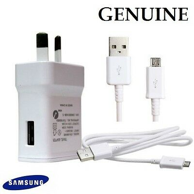 Genuine Samsung USB 2A AC Wall Charger + data Cable for Galaxy S7 S6 S5 S4