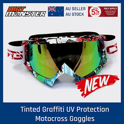 Tinted Graffiti UV Protection Motocross Goggles Enduro Racing Dirt bike Riding