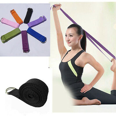 "72"" Yoga Strap Metal D Ring Sports Belts Waist Leg Fitness Exercise Gym Rope"