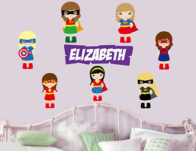 Personalised Girls Superhero - Wall Art Stickers Super hero Bat girl Avengers