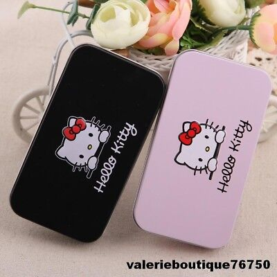 Kit & 7 Pcs Pinceaux Maquillage Brosse Noir Ou Rose Hello Kitty